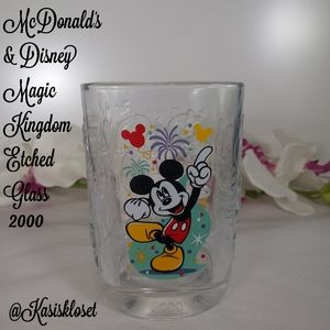 Disney & Mcdonald Magic Kingdom Etched Glass 2000